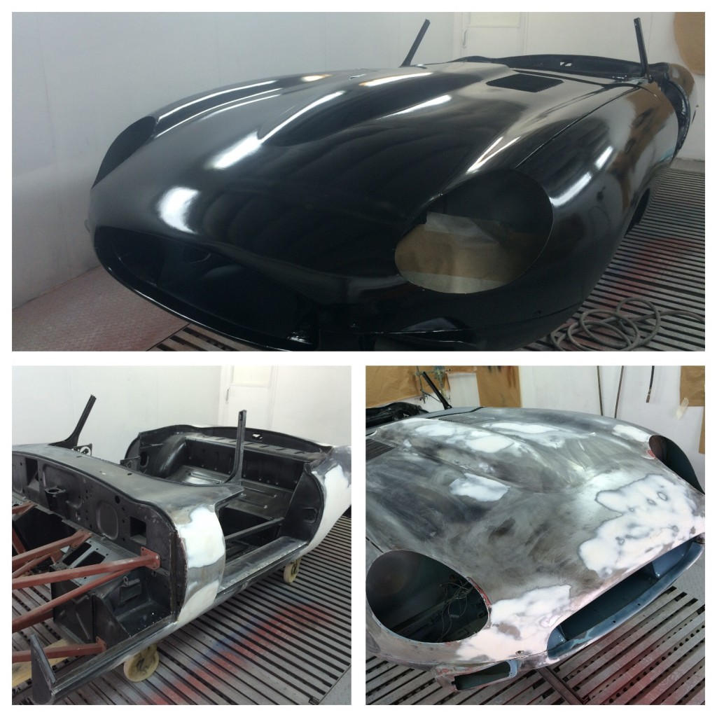 Epoxy coated jaguar etype body