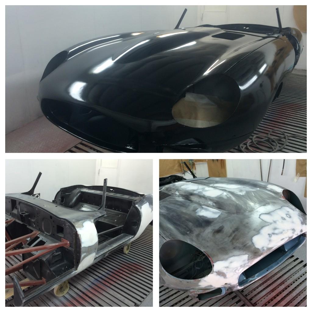 Epoxy coated jaguar etype body