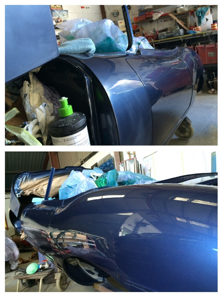 Solour sanding and polishing. Note the flat paint in the top picture where the new paint has been sanded. The 'A' post is during the repolish and the rear wing is polished back to high gloss shine.